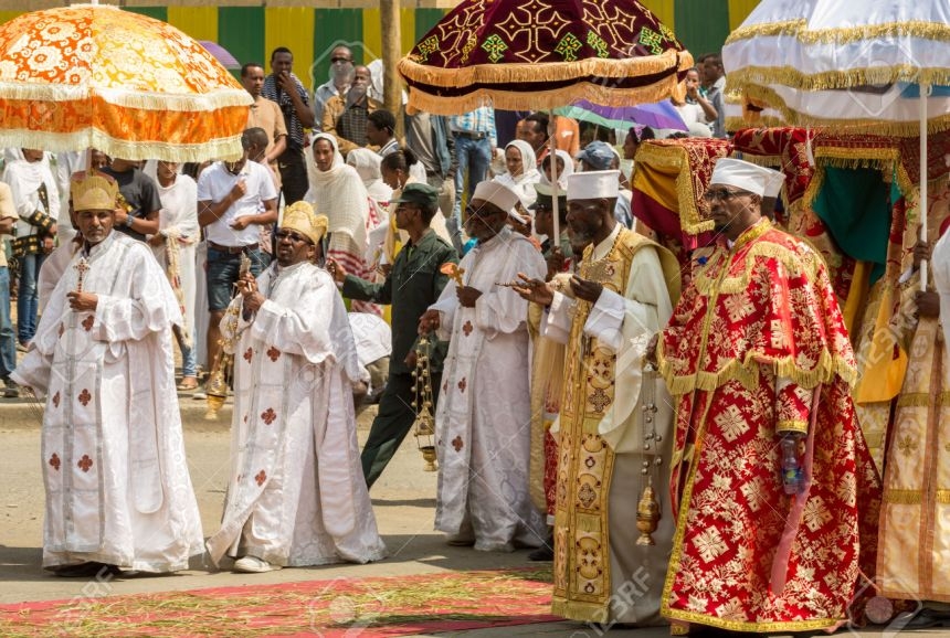 Ethiopian Orthodox followers celebrate Timket, the Ethiopian Orthodox celebration of Epiphany, on January 19, 2015 in Addis Ababa.
