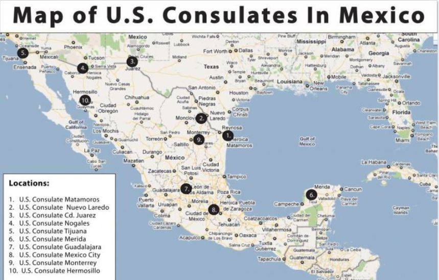 Map US Consulate Mexico
