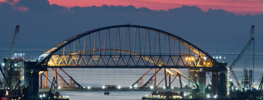 Crimean bridge night